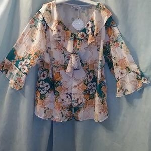 Simply Couture floral urn blouse